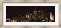 Buildings lit up at night in a city, Pittsburgh Pennsylvania, USA Fine-Art Print