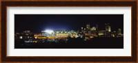 Stadium lit up at night in a city, Heinz Field, Three Rivers Stadium, Pittsburgh, Pennsylvania, USA Fine-Art Print