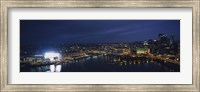 High angle view of buildings lit up at night, Heinz Field, Pittsburgh, Allegheny county, Pennsylvania, USA Fine-Art Print