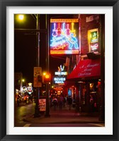 Neon sign lit up at night in a city, Rum Boogie Cafe, Beale Street, Memphis, Shelby County, Tennessee, USA Fine-Art Print