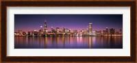 Reflection of skyscrapers in a lake, Lake Michigan, Digital Composite, Chicago, Cook County, Illinois, USA Fine-Art Print
