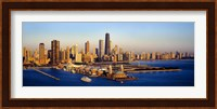 Aerial view of a city, Navy Pier, Lake Michigan, Chicago, Cook County, Illinois, USA Fine-Art Print