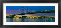 Suspension bridge across a river, Ben Franklin Bridge, River Delaware, Philadelphia, Pennsylvania, USA Fine-Art Print
