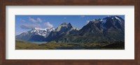 Lake in front of mountains, Jagged Peaks, Lago Nordenskjold, Torres Del Paine National Park, Patagonia, Chile Fine-Art Print