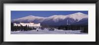 Hotel near snow covered mountains, Mt. Washington Hotel Resort, Mount Washington, Bretton Woods, New Hampshire, USA Fine-Art Print