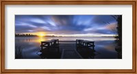 Panoramic view of a pier at dusk, Vuoksi River, Imatra, Finland Fine-Art Print