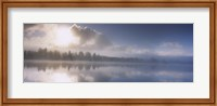 Panoramic view of a river at dawn, Vuoski River, Imatra, Finland Fine-Art Print