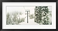Chair lift and snowy evergreen trees at Stevens Pass, Washington State, USA Fine-Art Print