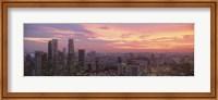 High angle view of a city at sunset, Singapore City, Singapore Fine-Art Print