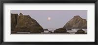 Sea stacks and setting moon at dawn, Bandon Beach, Oregon, USA Fine-Art Print