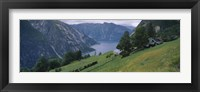 High angle view of a river surrounded by mountains, Kjeasen, Eidfjord, Hordaland, Norway Fine-Art Print