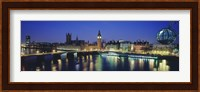 Buildings lit up at dusk, Big Ben, Houses Of Parliament, Thames River, London, England Fine-Art Print