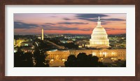 High angle view of a city lit up at dusk, Washington DC, USA Fine-Art Print