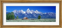 Barn On Plain Before Mountains, Grand Teton National Park, Wyoming, USA Fine-Art Print