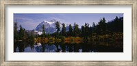Reflection of trees and mountains in a lake, Mount Shuksan, North Cascades National Park, Washington State Fine-Art Print