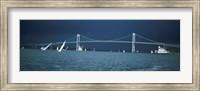 Storm approaches sailboats racing past Rose Island lighthouse and Newport Bridge in Narragansett Bay, Newport, Rhode Island USA Fine-Art Print