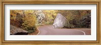 Road curving around a big boulder, Stowe, Lamoille County, Vermont, USA Fine-Art Print