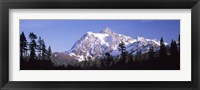 Mountain range covered with snow, Mt Shuksan, Picture Lake, North Cascades National Park, Washington State, USA Fine-Art Print