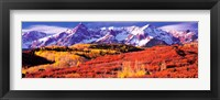 Forest in autumn with snow covered mountains in the background, Telluride, San Miguel County, Colorado, USA Fine-Art Print