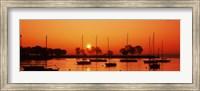 Silhouette of boats in a lake, Lake Michigan, Great Lakes, Michigan, USA Fine-Art Print