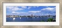Sailboats in a lake with the city hall in the background, Riddarfjarden, Stockholm City Hall, Stockholm, Sweden Fine-Art Print