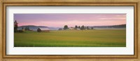 Barn and wheat field across farmlands at dawn, Finland Fine-Art Print
