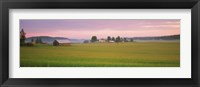 Barn and wheat field across farmlands at dawn, Finland Fine-Art Print
