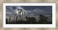 Stork flying with baby in beak over moon Fine-Art Print