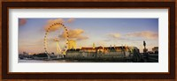 Ferris wheel with buildings at waterfront, Millennium Wheel, London County Hall, Thames River, South Bank, London, England Fine-Art Print