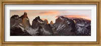 Snowcapped mountain range, Paine Massif, Torres del Paine National Park, Magallanes Region, Patagonia, Chile Fine-Art Print