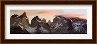 Snowcapped mountain range, Paine Massif, Torres del Paine National Park, Magallanes Region, Patagonia, Chile Fine-Art Print