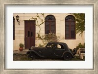 Vintage car parked in front of a house, Calle De Portugal, Colonia Del Sacramento, Uruguay Fine-Art Print