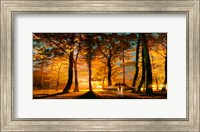 Alien and UFO in the forest Fine-Art Print
