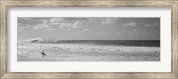 Surfer standing on the beach in black and white, Oahu, Hawaii Fine-Art Print