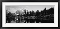 Reflection of trees and mountains in a lake, Mount Shuksan, North Cascades National Park, Washington State (black and white) Fine-Art Print
