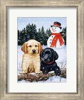 Lab Puppies With Snowman Fine-Art Print