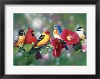 Songbirds On Hollyhock Fine-Art Print