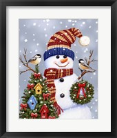 Snowman With Wreath Fine-Art Print