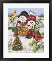 Snow Couple Feeding Birds Fine-Art Print