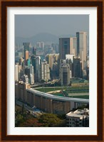 High angle view of a horseracing track, Happy Valley Racecourse, Happy Valley, Wan Chai District, Hong Kong Fine-Art Print
