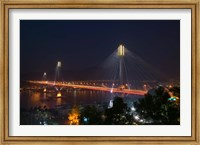 Bridge lit up at night, Ting Kau Bridge, Rambler Channel, New Territories, Hong Kong Fine-Art Print