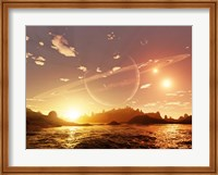 A scene on a distant moon orbiting a gas giant in a trinary star system Fine-Art Print