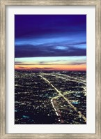 Aerial Night View of Chicago, Illinois, USA Fine-Art Print