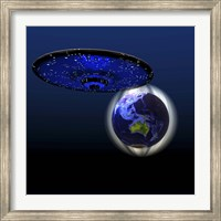 Magnetic Force Field Around Earth and Flying Saucer Fine-Art Print