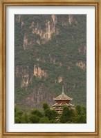 Pagoda and giant karst peak behind, Yangshuo Bridge, China Fine-Art Print