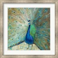 Blue Peacock on Gold Fine-Art Print