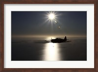 silhouette of North American T-6 Texan warbird in Swedish Air Force colors Fine-Art Print