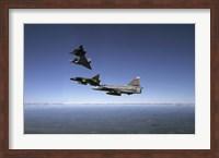 Four Saab 37 Viggen fighters breaking up over northern Sweden Fine-Art Print