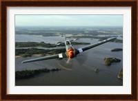 Front View of North American P-51 Mustang in flight over Vasteras, Sweden Fine-Art Print