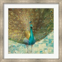 Teal Peacock on Gold Fine-Art Print